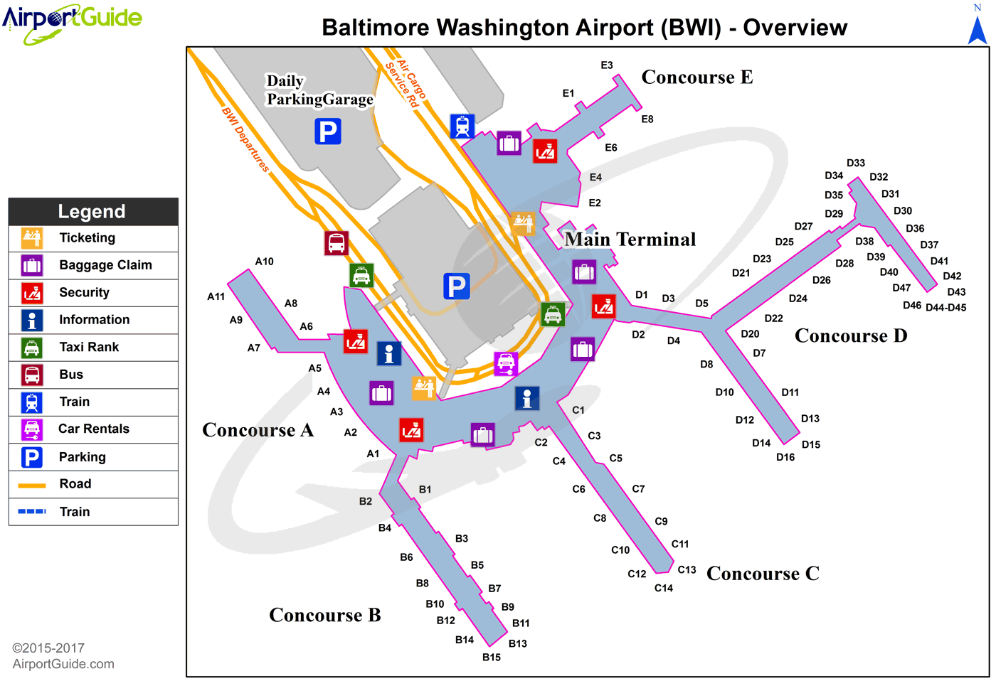 Baltimore - Baltimore/Washington International Thurgood Marshall (BWI) Airport Terminal Map - Overview
