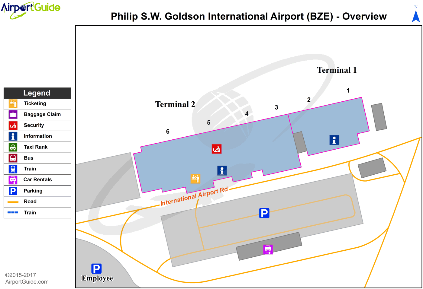 Belize City - Philip S. W. Goldson International (BZE) Airport Terminal Map - Overview