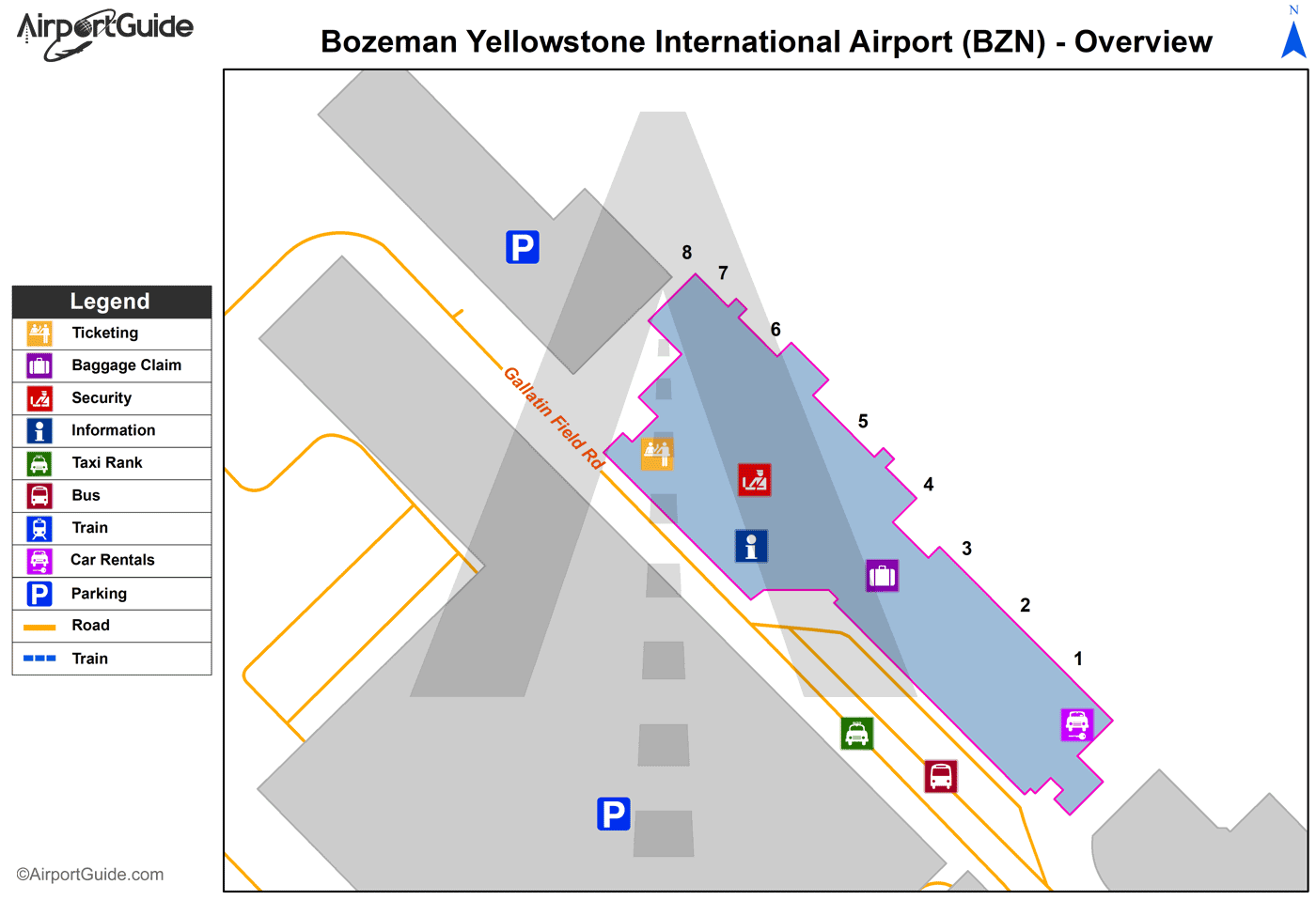 Bozeman - Bozeman Yellowstone International (BZN) Airport Terminal Map - Overview