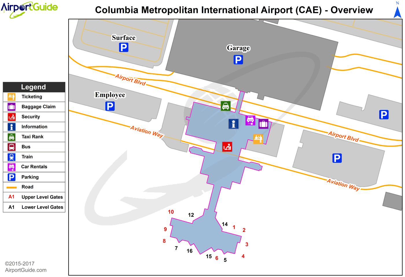 Columbia - Columbia Metropolitan (CAE) Airport Terminal Map - Overview