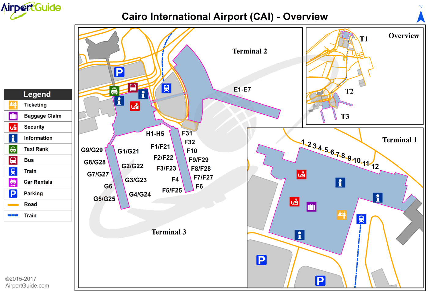 Cairo - Cairo International (CAI) Airport Terminal Map - Overview