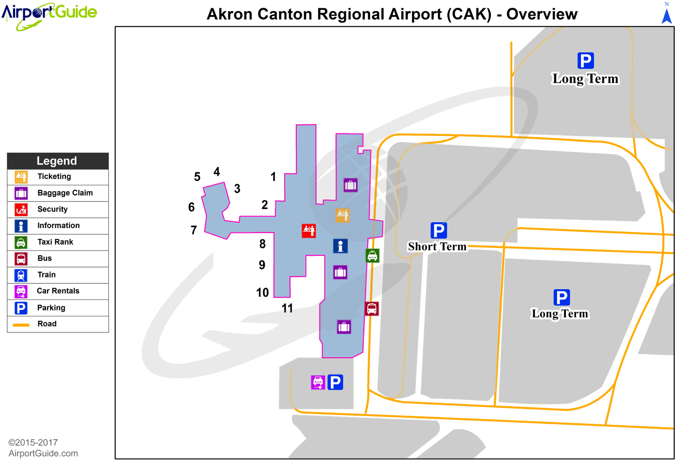 Akron - Akron-Canton Regional (CAK) Airport Terminal Map - Overview