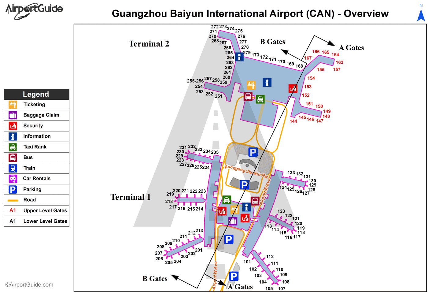 Guangzhou (Canton) - Guangzhou Baiyun International (CAN) Airport Terminal Map - Overview