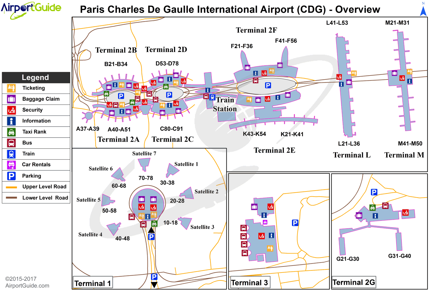 Paris - Charles de Gaulle International (CDG) Airport Terminal Map - Overview