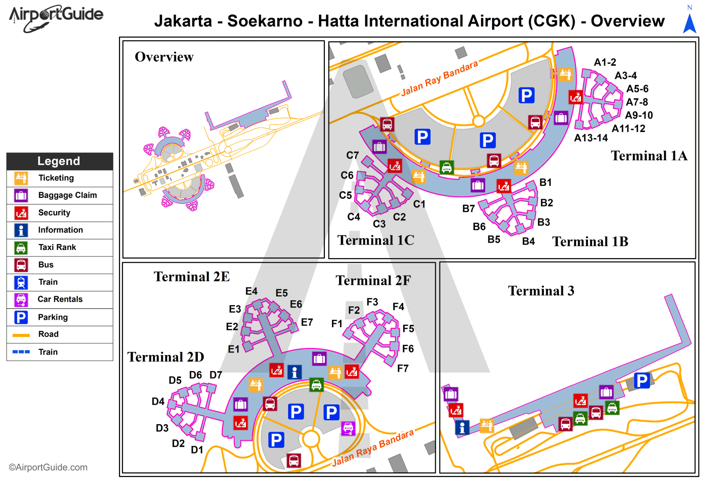 Jakarta - Soekarno-Hatta International (CGK) Airport Terminal Map - Overview