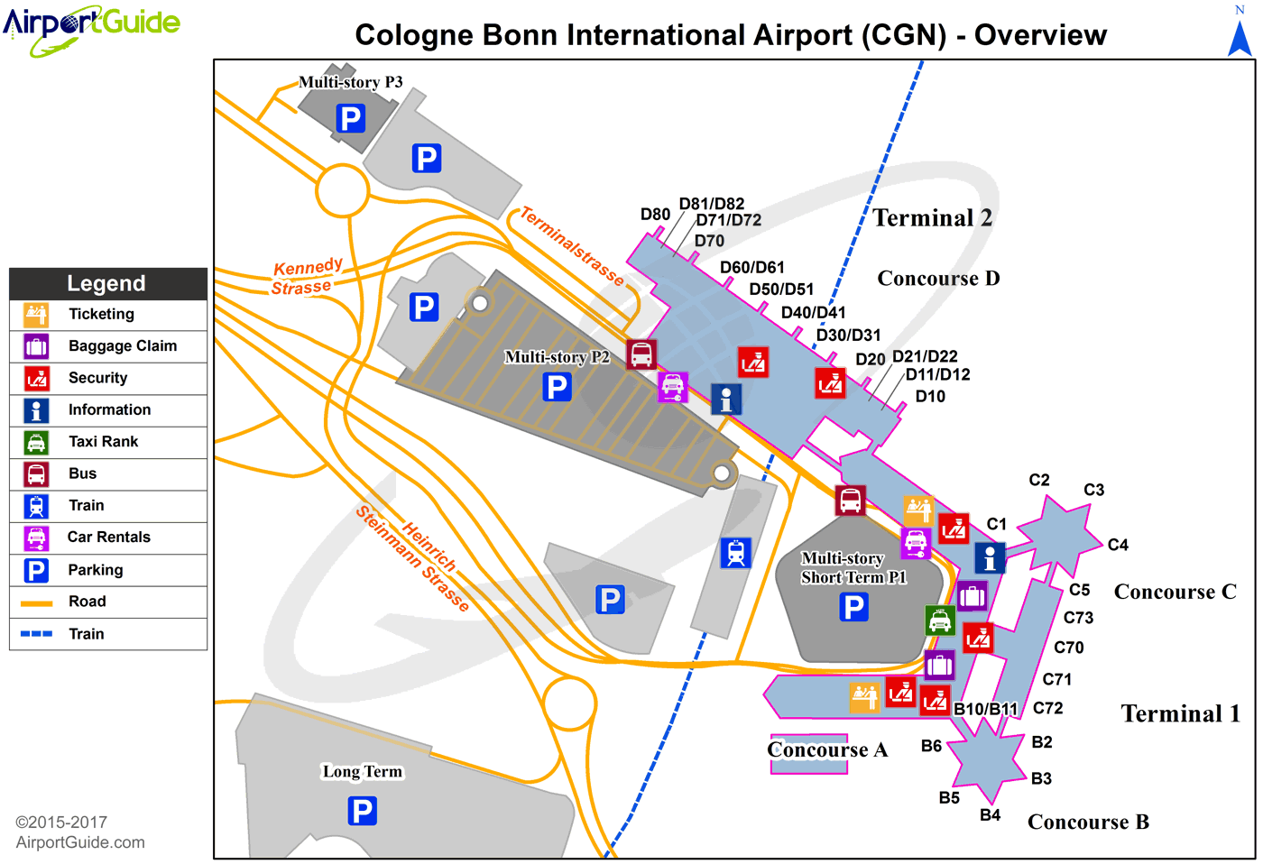 CGN Airport Terminal Map - Overview