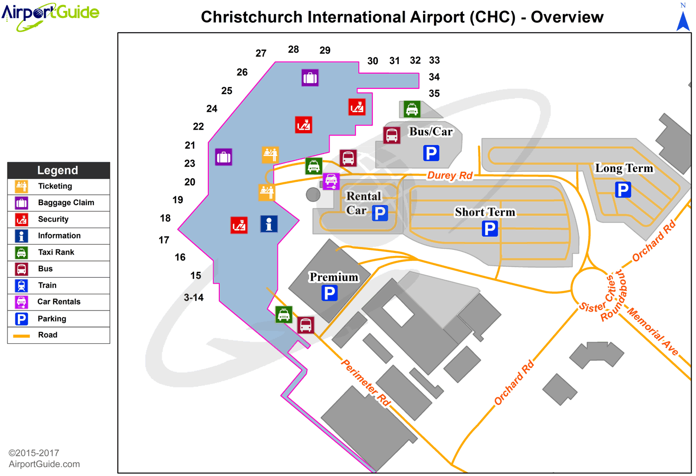 Christchurch - Christchurch International (CHC) Airport Terminal Map - Overview