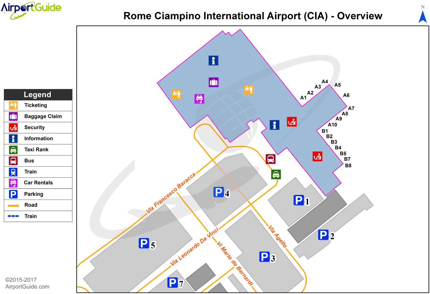 Roma - Ciampino (CIA) Airport Terminal Map - Overview