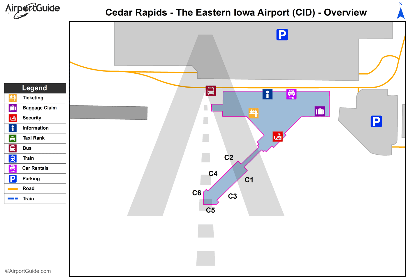 Cedar Rapids - Elkader (CID) Airport Terminal Map - Overview