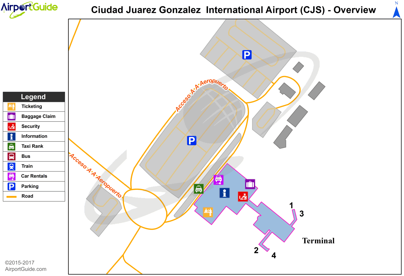 Ciudad Juárez - Abraham González International (CJS) Airport Terminal Map - Overview