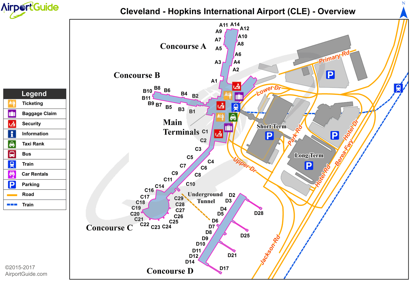 Cleveland - Tri-City (CLE) Airport Terminal Map - Overview