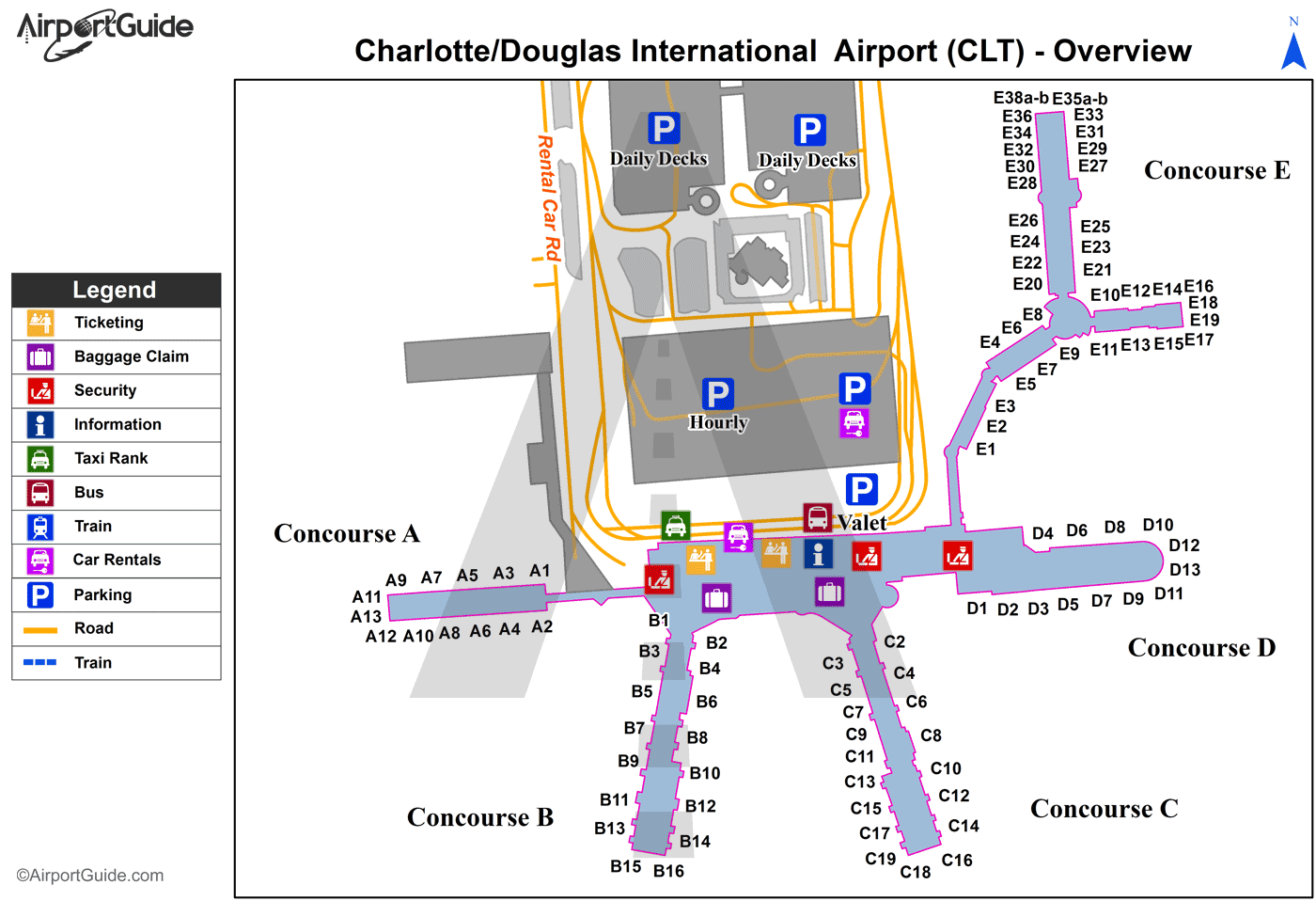 Charlotte - Charlotte/Douglas International (CLT) Airport Terminal Map - Overview