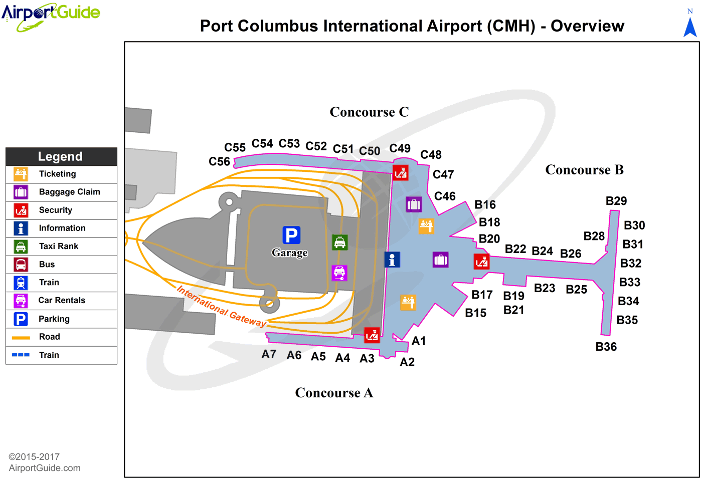 Columbus - John Glenn Columbus International (CMH) Airport Terminal Map - Overview