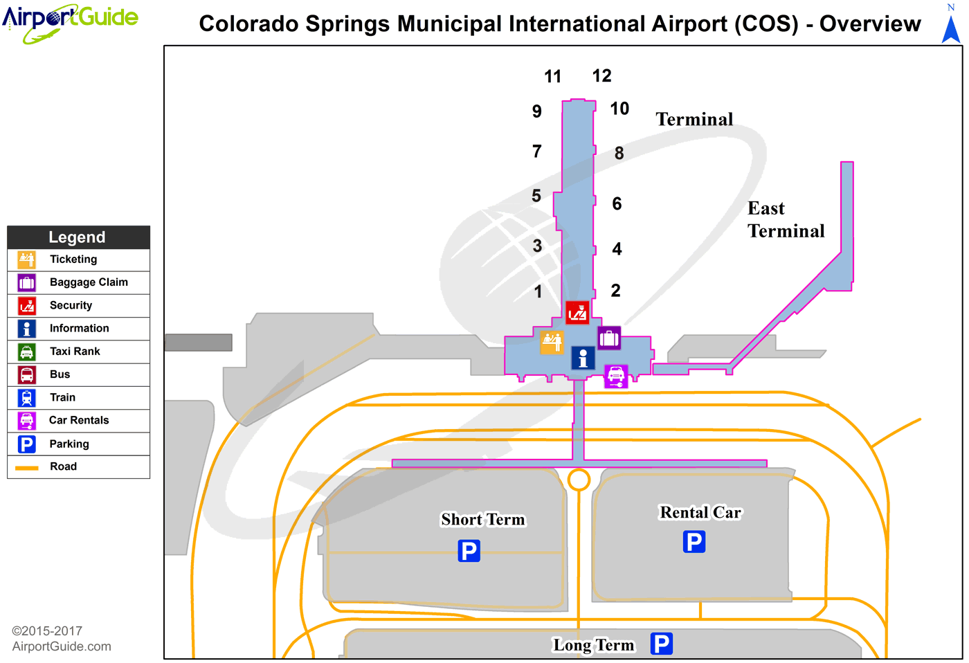 Colorado Springs - City Of Colorado Springs Municipal (COS) Airport Terminal Map - Overview