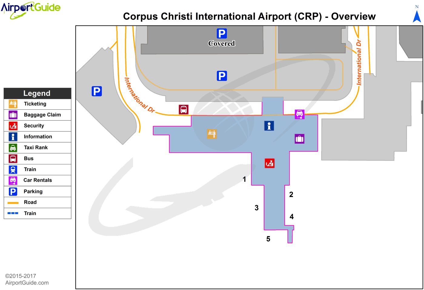 Corpus Christi - Corpus Christi International (CRP) Airport Terminal Map - Overview