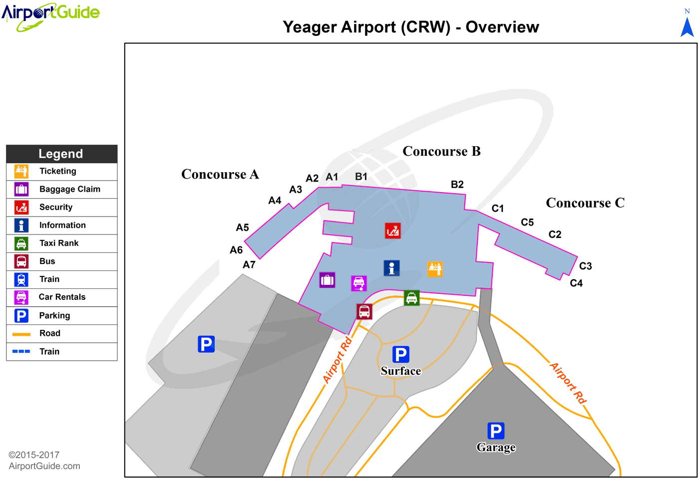 Charleston - Yeager (CRW) Airport Terminal Map - Overview