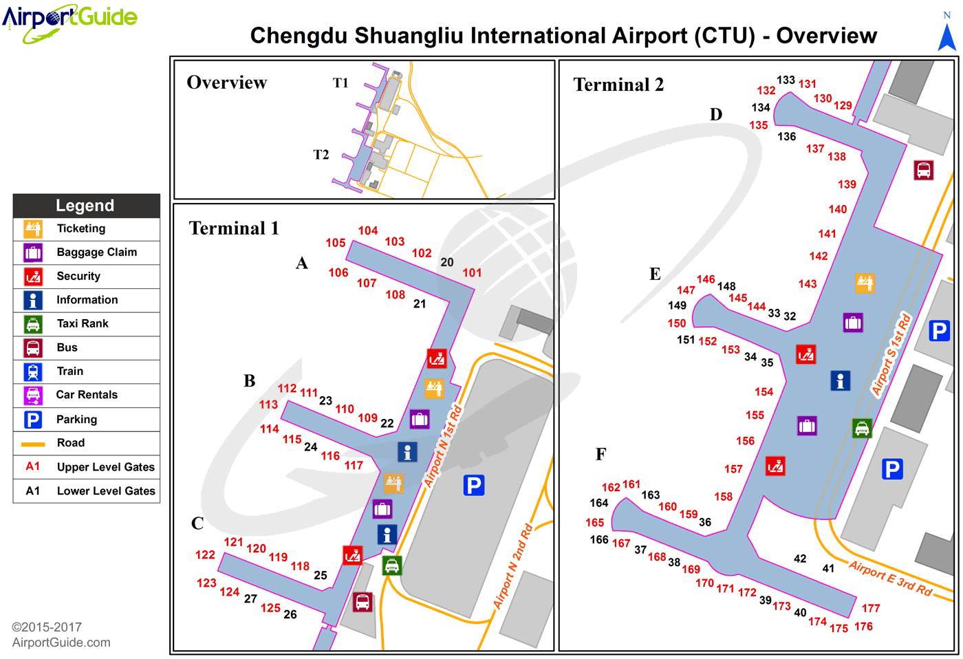 Chengdu - Chengdu Shuangliu International (CTU) Airport Terminal Map - Overview