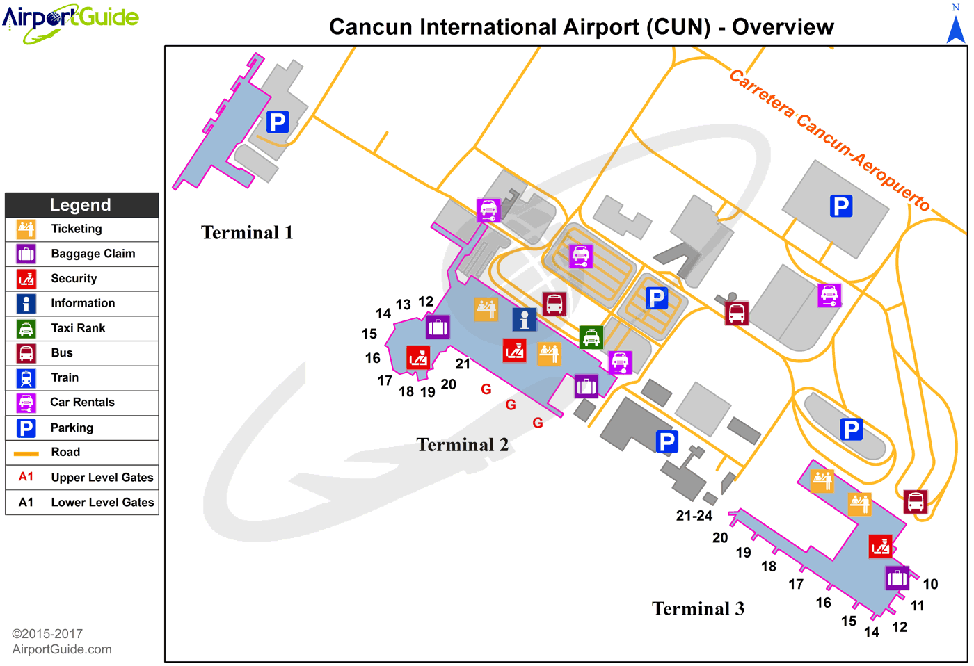 Cancún - Cancún International (CUN) Airport Terminal Map - Overview
