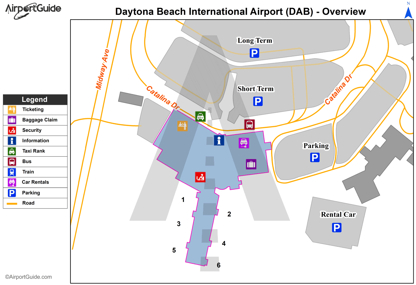 Daytona Beach - Daytona Beach International (DAB) Airport Terminal Map - Overview