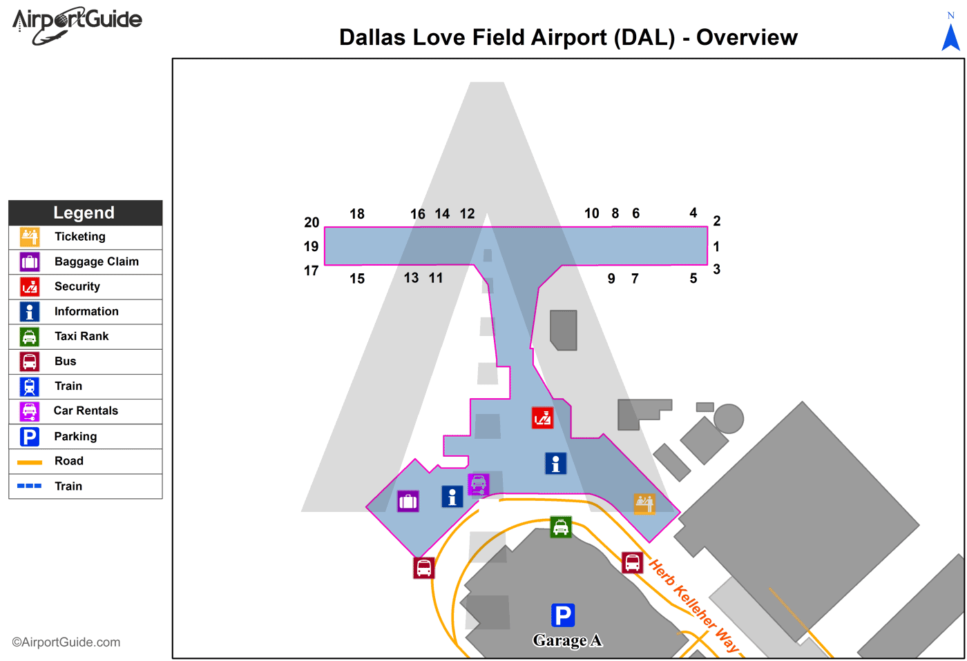 Dallas - Hicks Airfield (DAL) Airport Terminal Map - Overview