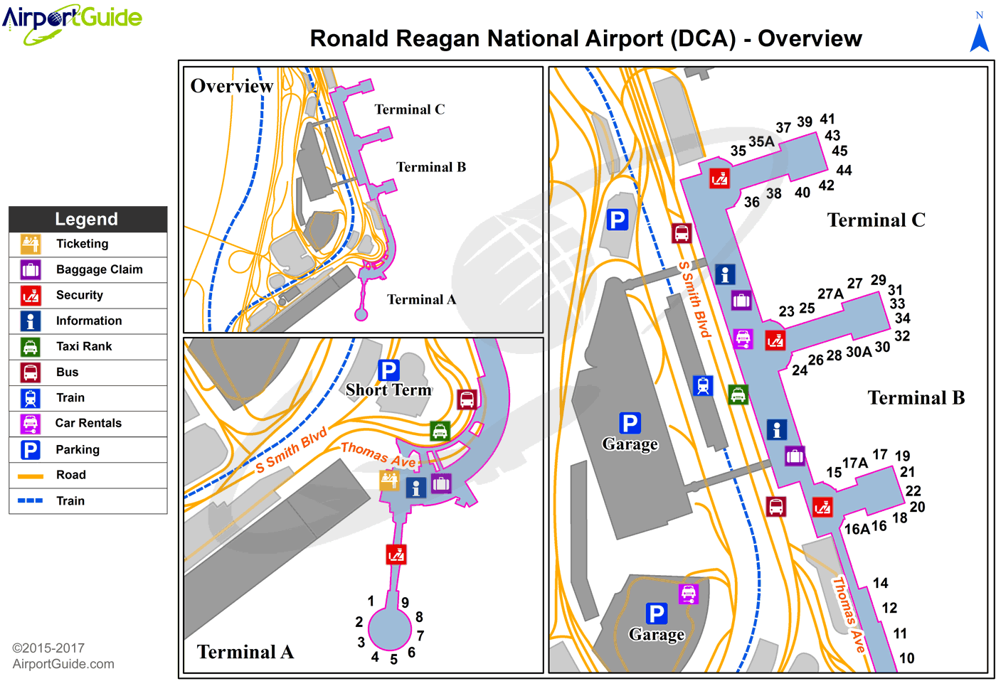 Washington - Easton/Newnam Field (DCA) Airport Terminal Map - Overview