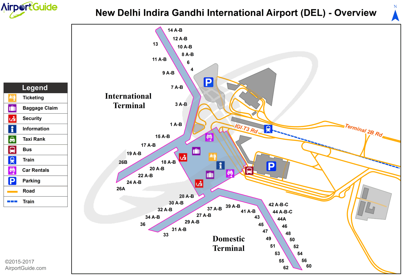 Delhi - Indira Gandhi International (DEL) Airport Terminal Map - Overview