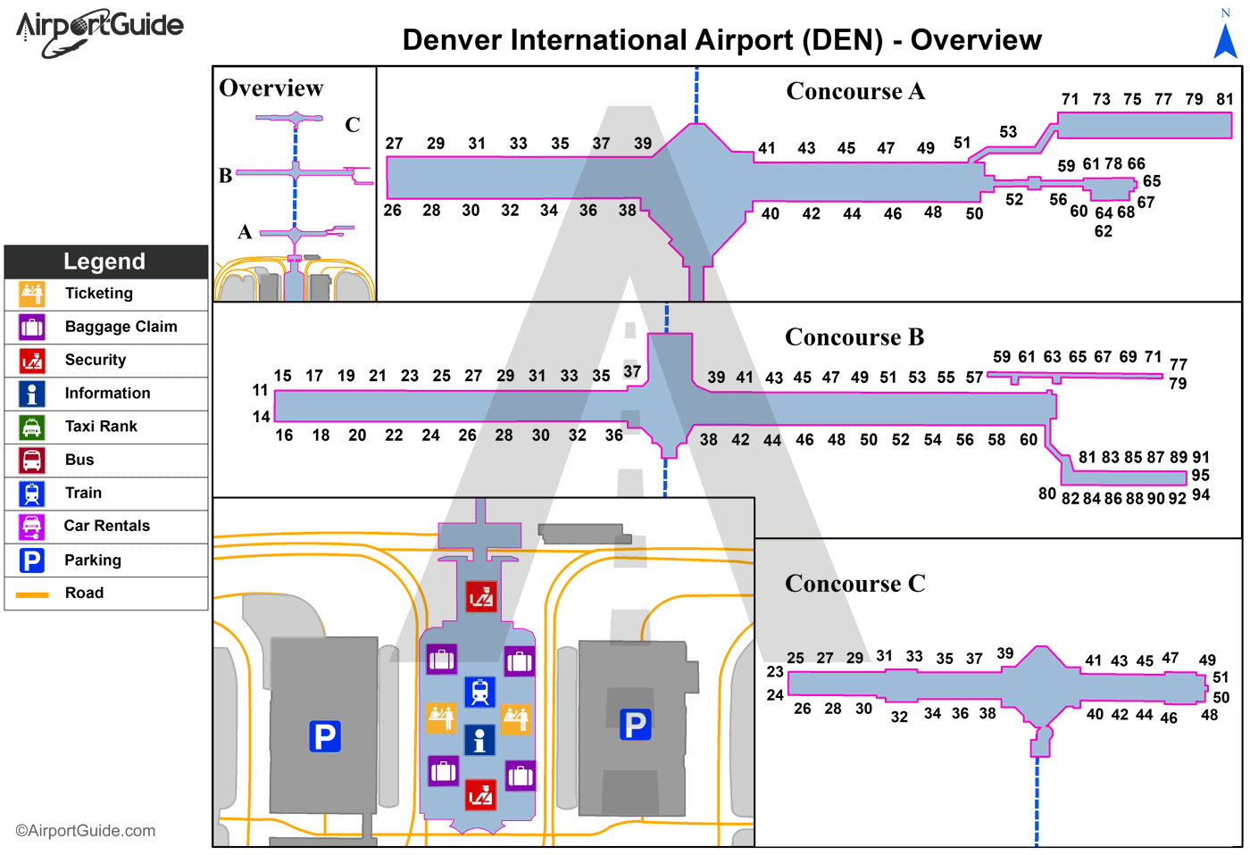 Denver - Denver International (DEN) Airport Terminal Map - Overview
