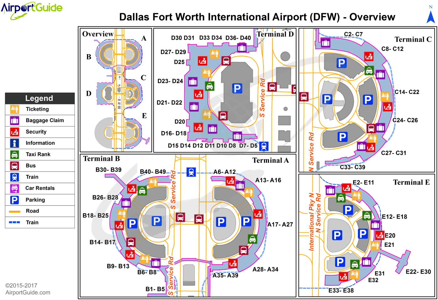 Dallas-Fort Worth - Dallas-Fort Worth International (DFW) Airport Terminal Map - Overview