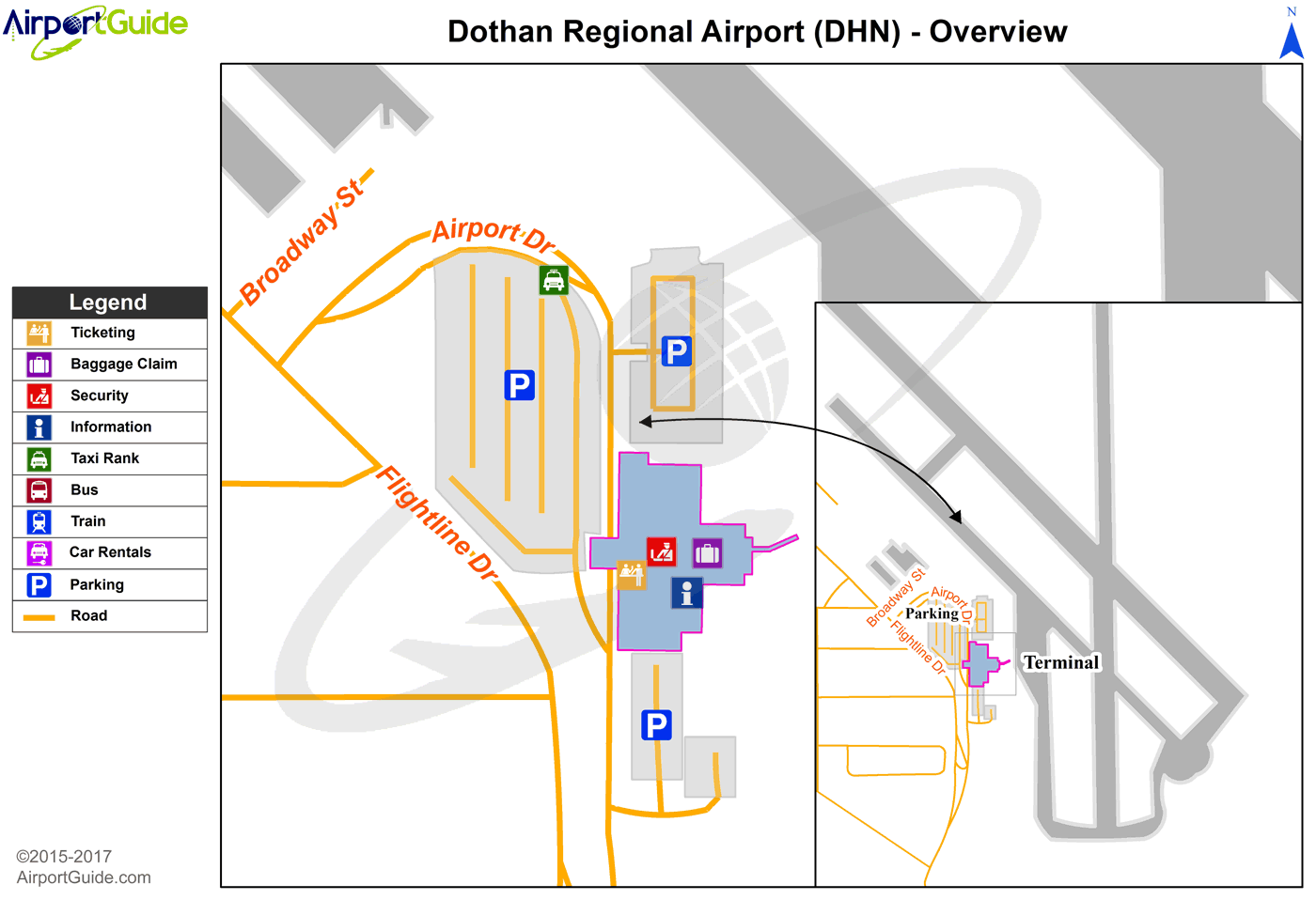 Dothan - Dothan Regional (DHN) Airport Terminal Map - Overview