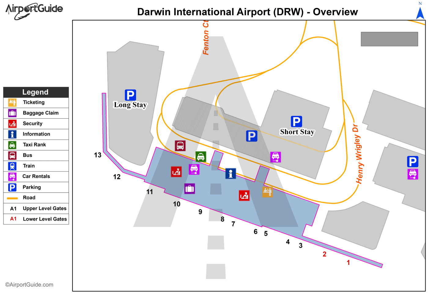 Darwin - Darwin International (DRW) Airport Terminal Map - Overview