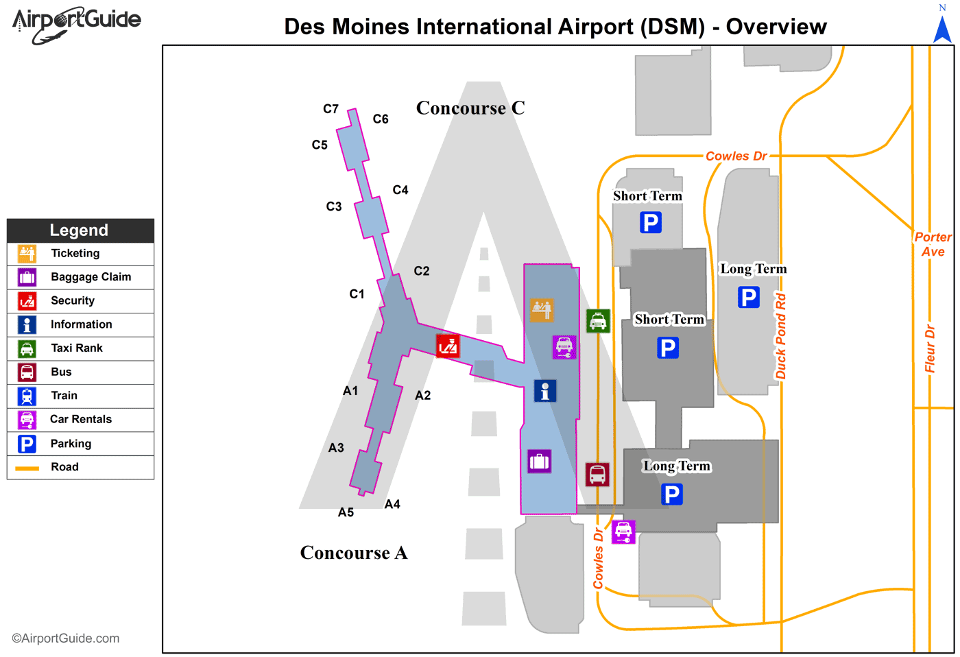 Des Moines - Des Moines International (DSM) Airport Terminal Map - Overview