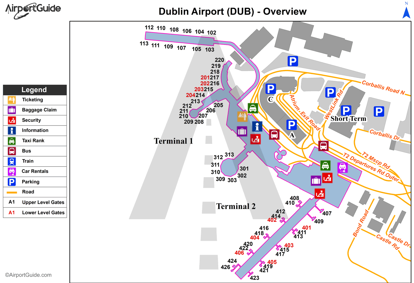 Dublin - Dublin (DUB) Airport Terminal Map - Overview