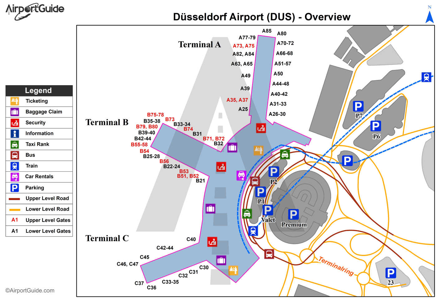 Düsseldorf - Düsseldorf International (DUS) Airport Terminal Map - Overview