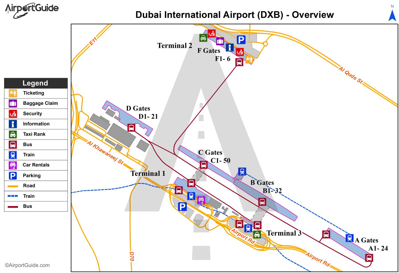 Dubai - Dubai International (DXB) Airport Terminal Map - Overview