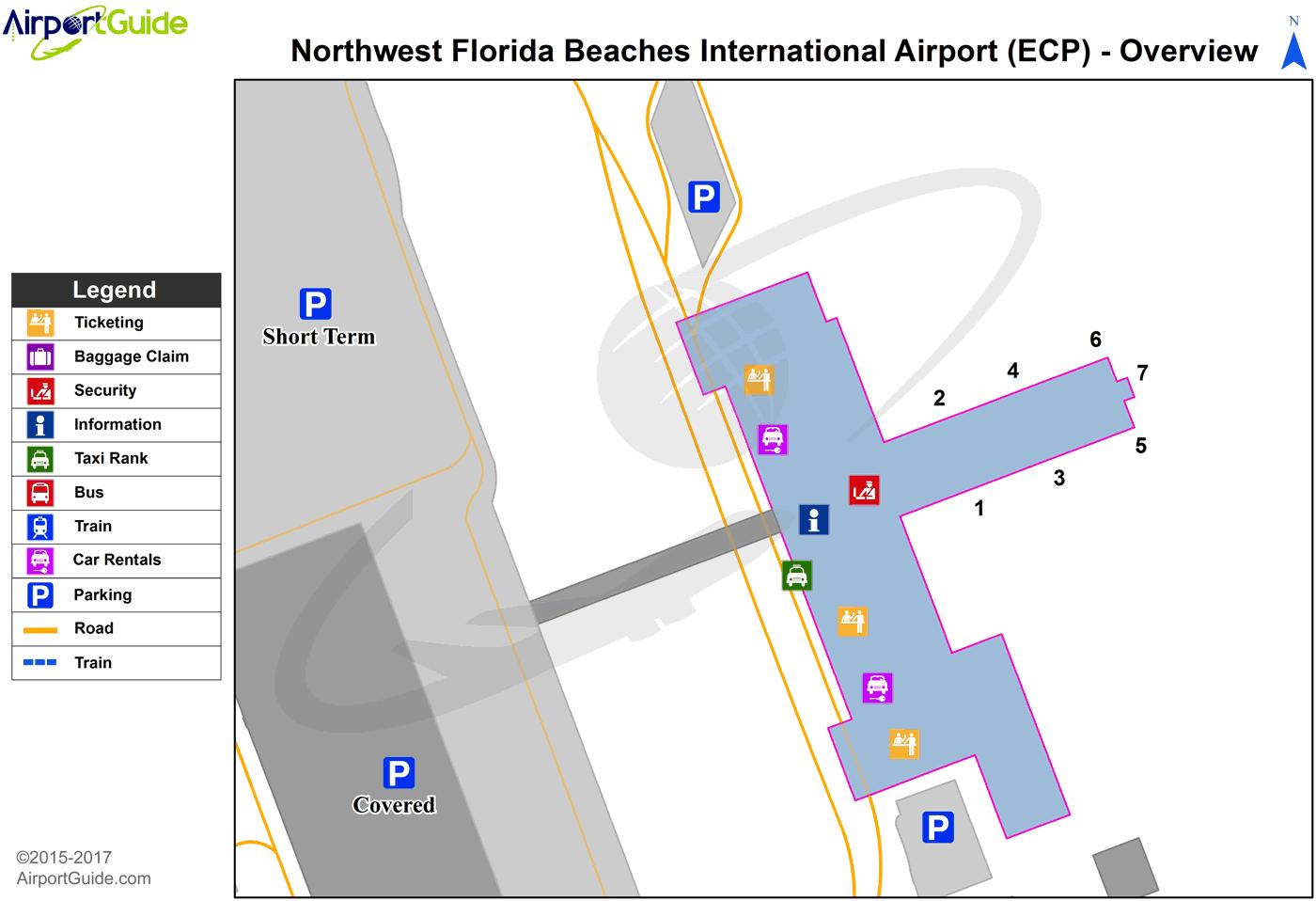 Panama City - Brewton Municipal (ECP) Airport Terminal Map - Overview