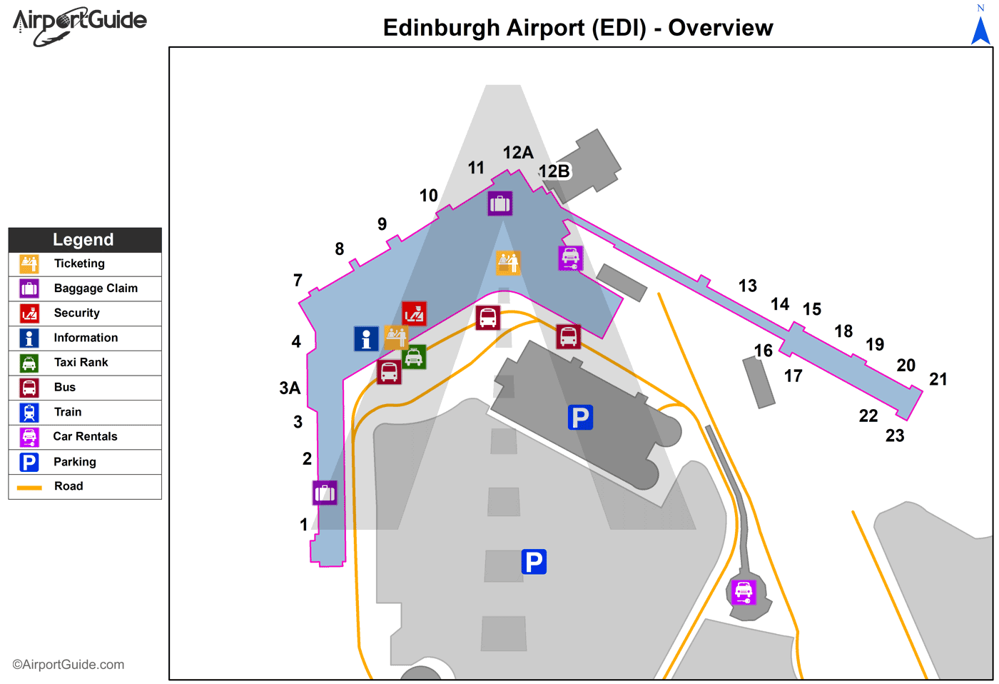 Edinburgh - Edinburgh (EDI) Airport Terminal Map - Overview