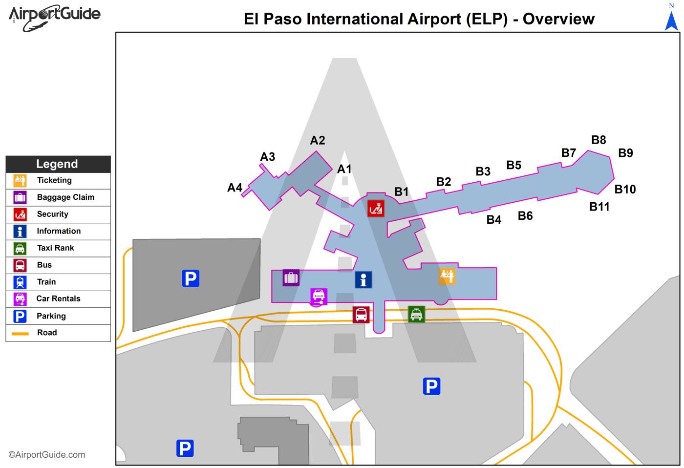 El Paso - El Paso International (ELP) Airport Terminal Map - Overview