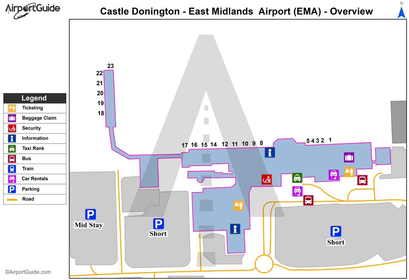 Castle Donington - East Midlands (EMA) Airport Terminal Map - Overview