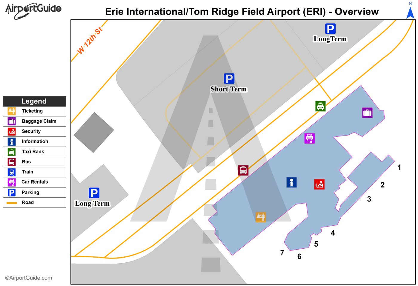 Erie - Erie International/Tom Ridge Field (ERI) Airport Terminal Map - Overview