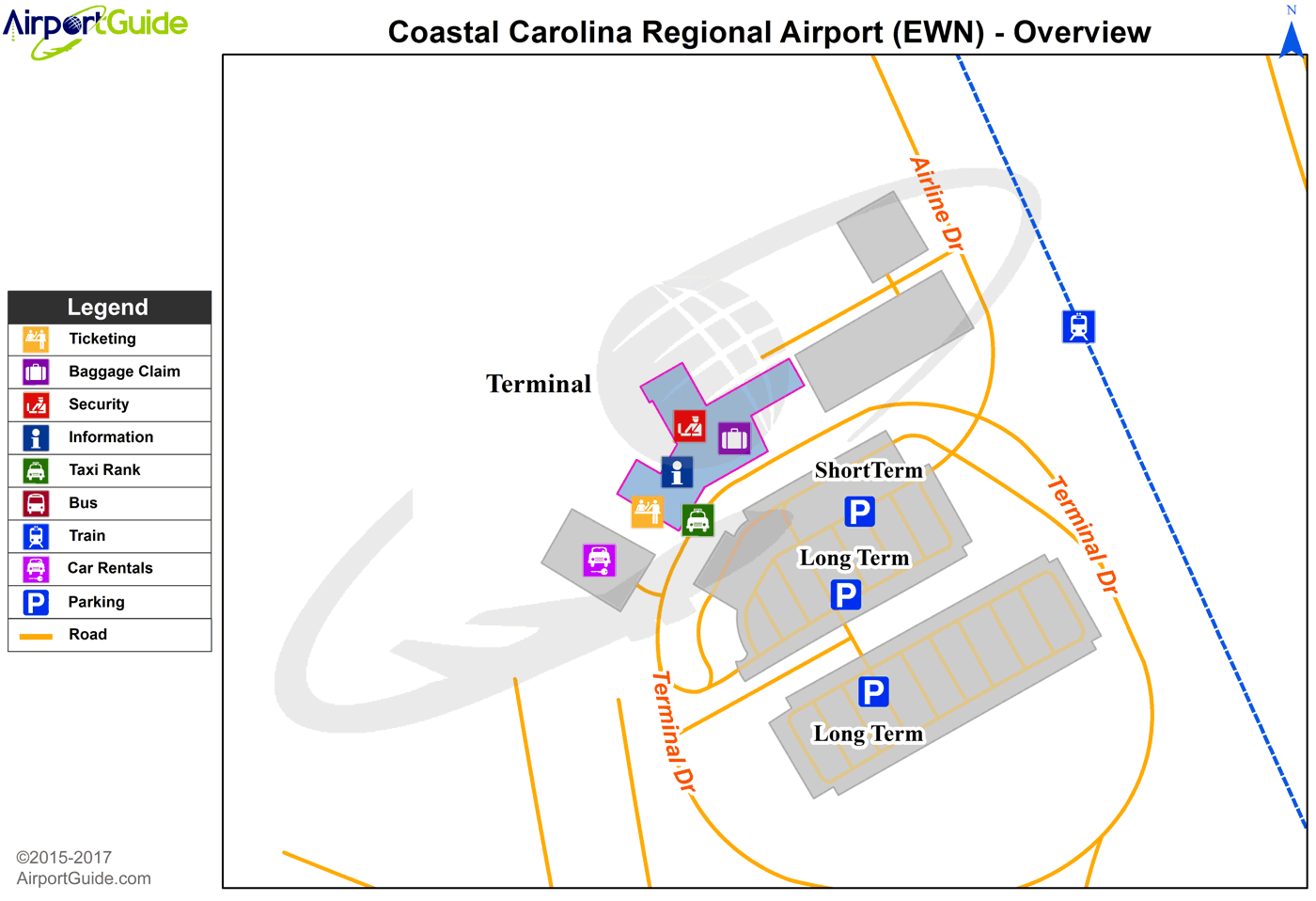 New Bern - Coastal Carolina Regional (EWN) Airport Terminal Map - Overview