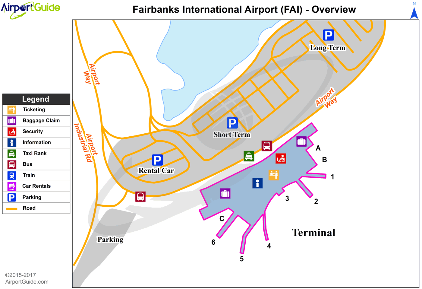 Fairbanks - Cantwell (FAI) Airport Terminal Map - Overview