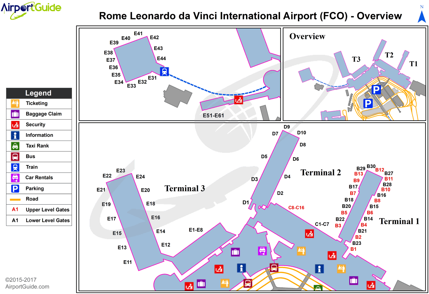 Rome - Leonardo Da Vinci (Fiumicino) International (FCO) Airport Terminal Map - Overview