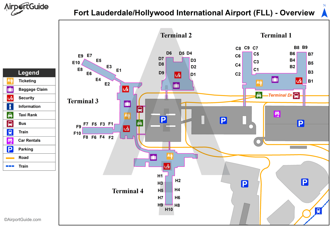 Fort Lauderdale - Fort Lauderdale/Hollywood International (FLL) Airport Terminal Map - Overview