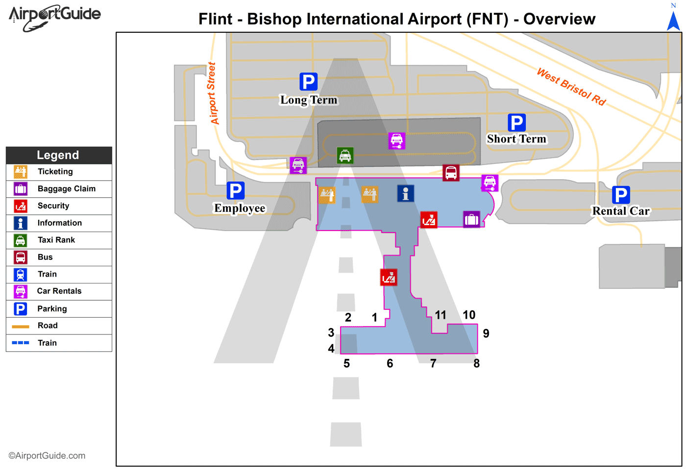 Flint - Bishop International (FNT) Airport Terminal Map - Overview