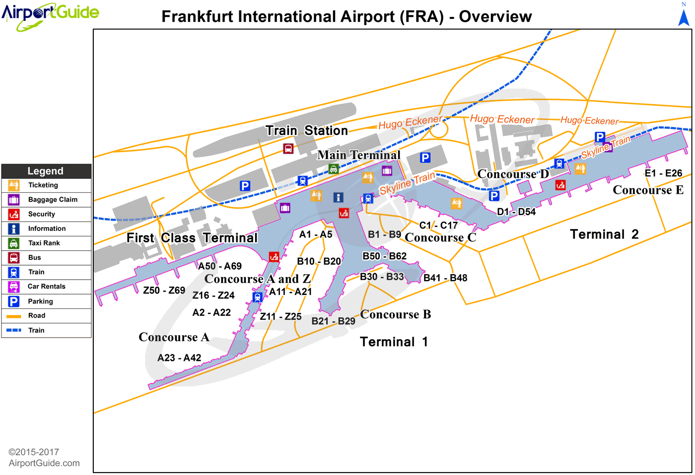 Frankfurt-am-Main - Frankfurt am Main International (FRA) Airport Terminal Map - Overview