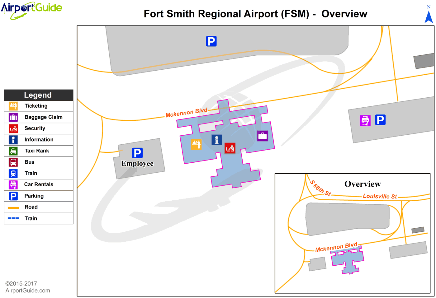 Fort Smith - Fort Smith Regional (FSM) Airport Terminal Map - Overview