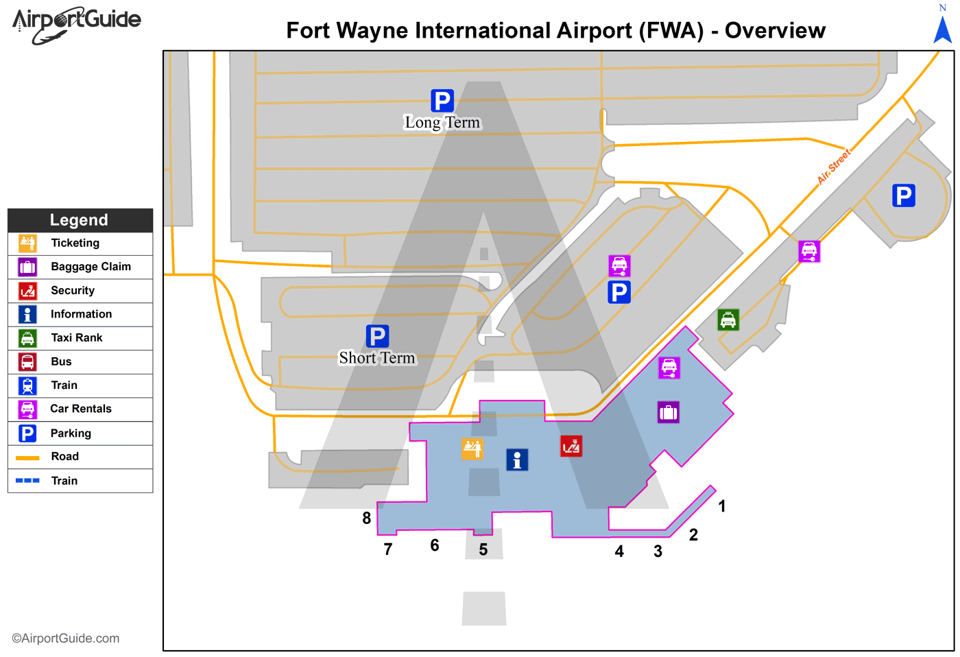 Fort Wayne - Fort Wayne International (FWA) Airport Terminal Map - Overview