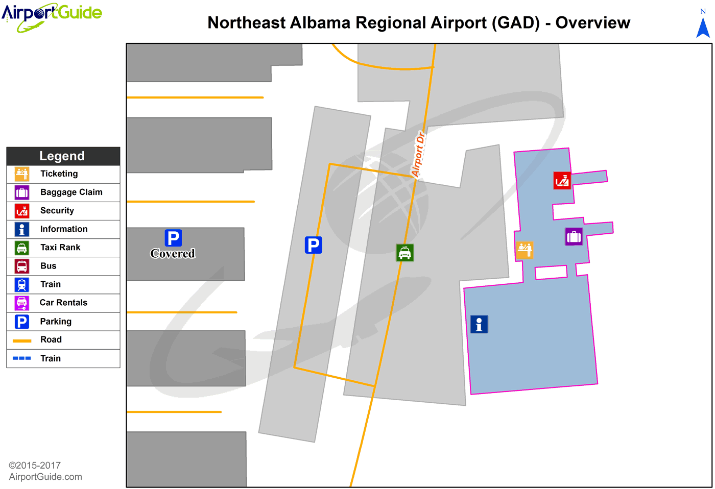 Gadsden - Northeast Alabama Regional (GAD) Airport Terminal Map - Overview