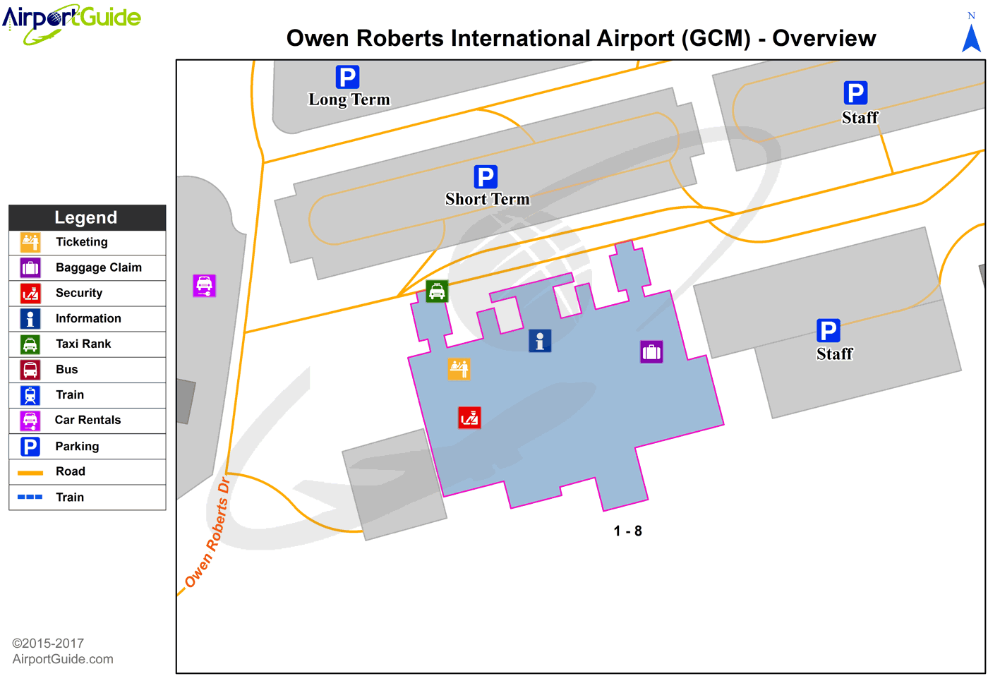Grand Cayman - Owen Roberts International (GCM) Airport Terminal Map - Overview