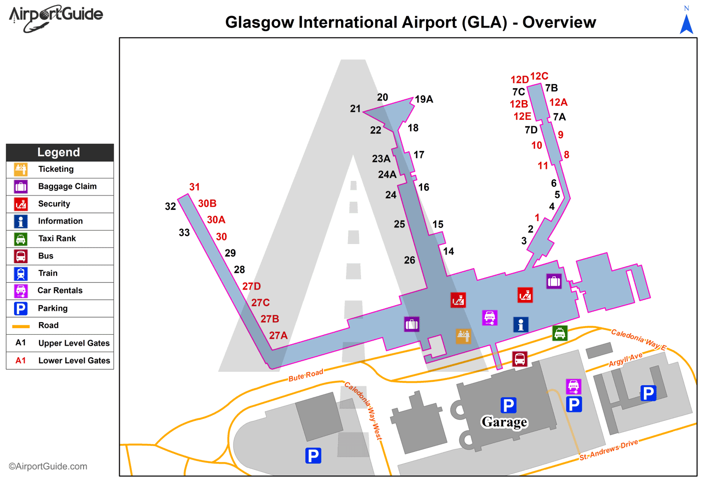 Glasgow - Glasgow International (GLA) Airport Terminal Map - Overview
